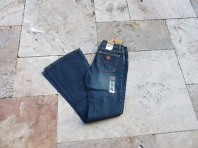 Denim Jeans Schlaghose Woodstock Hippie Rockabilly Vintage Style Flower Power