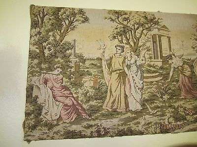 Vintage Tapestry- Grecian Scene- Musicians and Dancers -Flute and Harp