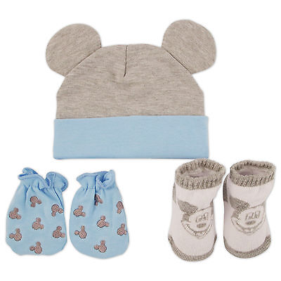 Disney Mickey Mouse Hat, Mitts and Socks Take Me Home Gift Set, Baby Boys, 0-3M