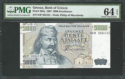 Greece 1997 P-205a PMG Choice UNC 64 EPQ 5000 Drachmaes