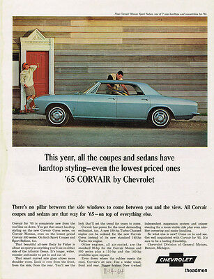 1965 Chevrolet Corvair 4 Door Vintage Original Laminated Ad Art