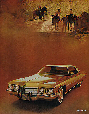 1972 Cadillac 4 Door Vintage Original Laminated Ad Art