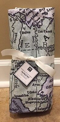 "NEW Pottery Barn Teen World Atlas Map Tapestry Mural 55x68"" Wall Decor"