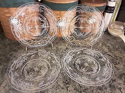 "Four (4) FOSTORIA ROMANCE 7 1/2"" SALAD PLATES Bows Ribbons Flowers"