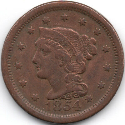 1854 USA Braided Hair Large One Cent United States of America Antique - nice #B3