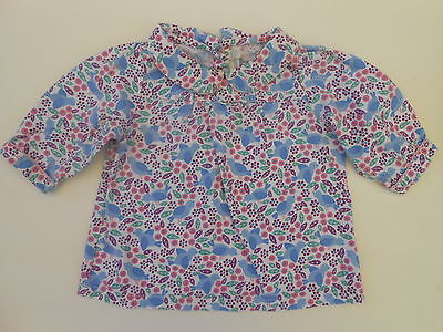 Pretty Jojo Maman Bebe Baby Girls Floral Print Blouse Top 6-12M
