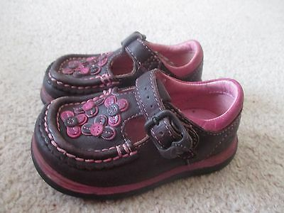 Clarks First Shoes Size UK 4 G Pink Girls T-Bar Leather Pink