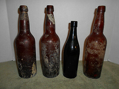 """Lot of 4 Antique Whiskey? Bottles Brown are 11 3/4"""" Tall Black 9 1/2"""""""