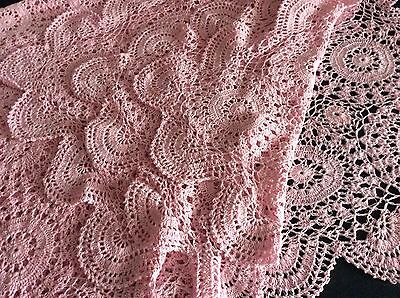 """Gorgeous Vintage Pink Hand Crochet Table Cover Or Throw ~ 64"""" X 46"""""""