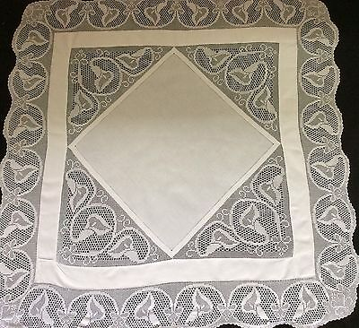 "Beautiful Antique Irish Linen And Lace Tablecloth ~ Calla Lilies ~ 50"" X 50"""