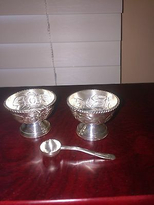 925 Sterling Silver 2 Hencho En Mexico Salt Cellar Dish With Spoon