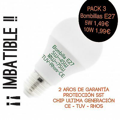 PACK X3 Bombillas LED  E27 10>>80W 1000LM Imbatible !!!