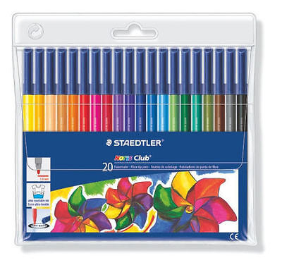 Staedtler Norris Club Fibre Tip Pens For Adult Colouring In Books Pack Of 20