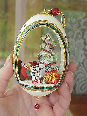 REAL Hand Decorated Carved Goose Egg Christmas Tree Ornament Gift Santa Bear
