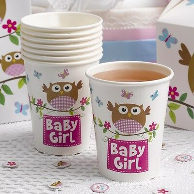 "Babyparty ""Kleine Eule"" Baby Girl Pappbecher 8 Stück - Becher Baby Shower Deko"