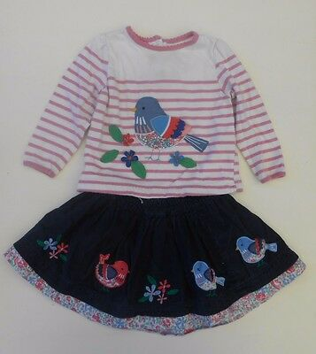 Jojo Maman Bebe Baby Girls Top Bird Print & Skrit 6-12M