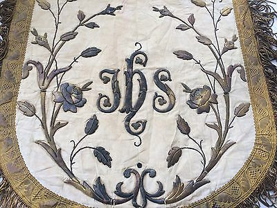 19th C ANTIQUE FRENCH GOLD METALLIC HAND EMBROIDERED STUMPWORK APPLIQUE