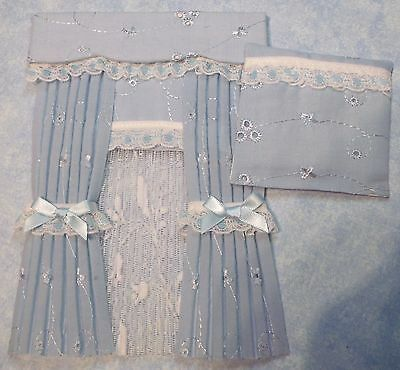 12th scale blue broderie anglais nursery curtains & quilt cover