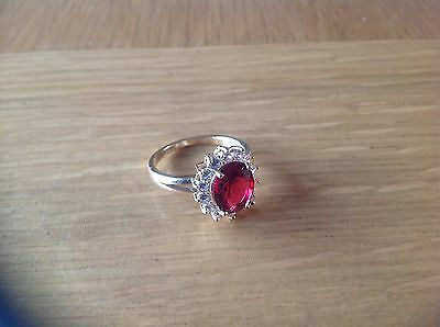 A  Lovely Ladies 'Red Stone' Ring  Size N,.beach find see details