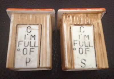 """Vintage Ceramic Outhouse """"I'm Full of P & S"""" Salt & Pepper Shakers Made In Japan"""