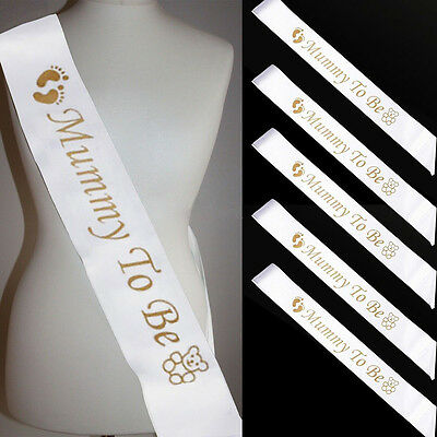 White Mummy To Be Satin Ribbons Celebrations For Newborn Baby Shower Sashs Party