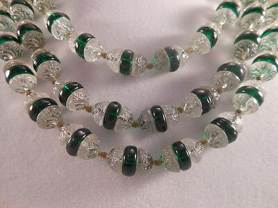 Vt Czech Deco Molded Clear/Green Glass 3-Bead Handknotted Long Necklace Lalique?
