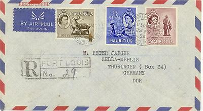 MAURITIUS 1958 AIRMAIL to GERMANY DDR REGISTERED PORT LOUIS