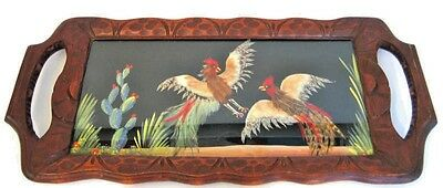 Hand Carved Wood Glass Tray Birds Pheasant Cactus Glass Inlaid Marked Mexico Vtg
