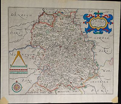 Antique Map of Shropshire, England 1637, Engraving with Hand Coloring