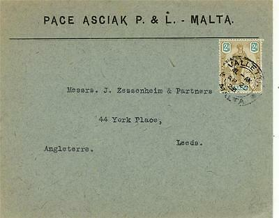 MALTA 1928 COMMERCIAL COVER to LEEDS UK 2d rate