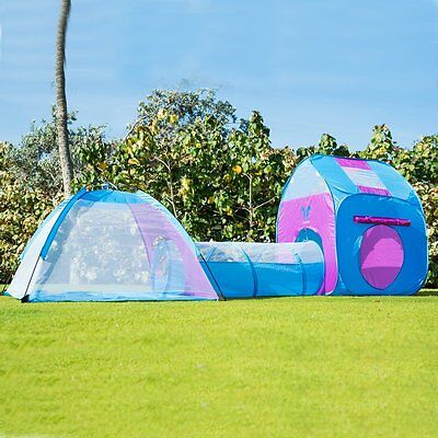 Kids Play Tent With Tunnel 3-in-1 Children Indoor Outdoor Fun Portable Pink Blue
