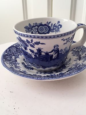 Spode Blue Room Cup And Saucer. Girl At Well