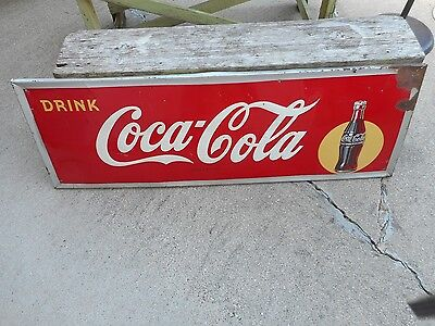 Vintage Original 1940s Coca Cola COKE Soda Pop Advertising Self Framed SIGN