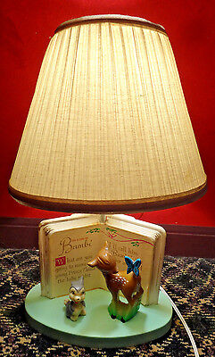 Vintage Bambi Table Lamp -Thumper/Butterfly/Book - Dolly Toy Co.