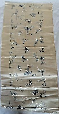 Superb 80 Cm Antique 19Th Century Chinese Silk Embroidery Moth Cover