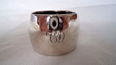 BIRMINGHAM c1930 STERLING / SOLID SILVER & BURR WOOD NAPKIN RING