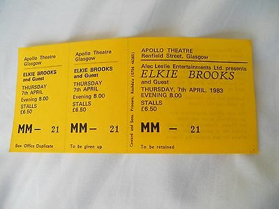 Elkie Brooks, Unsold concert ticket from Glasgow Apollo.