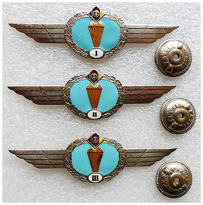 East Germany DDR Airborne Jump Wings Badges of 1960 USSR Issue. Extremely Rare!