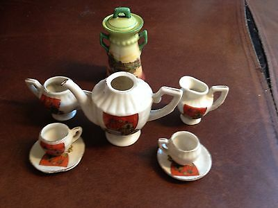 scarborough crested ware gemma tiny plates saucer cups urn