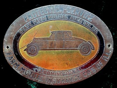 Antique State Farm Auto Insurance Badge Plate Illinois Vtg Car