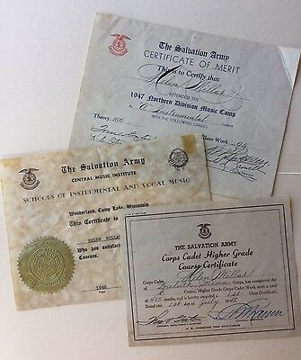 VINTAGE 3 SALVATION ARMY CERTIFICATES 1940s MUSIC CAMP& CORPS CADET MEMORABILIA