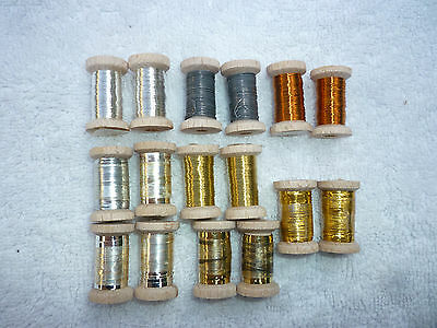 Fly Tying Materials  Tinsel/Wire 16 Small Spools Lot