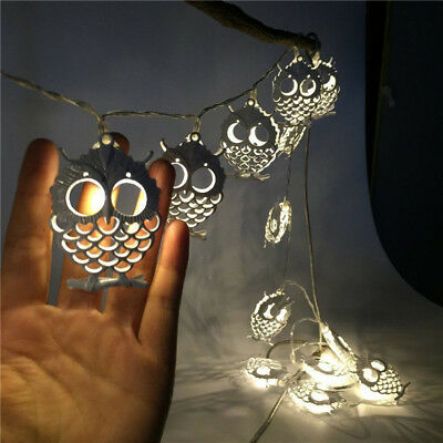 Battery Operation LED Metal OWL String Lights Patio Wedding Party Warm white