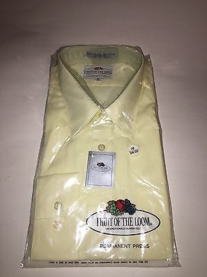 NOS Vintage NWT Fruit Of The Loom Dress Shirt 16 34/35 Pale Yellow Poly/Cotton