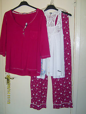 ladies 3 piece mix and match pyjamas size 8-10  red / white