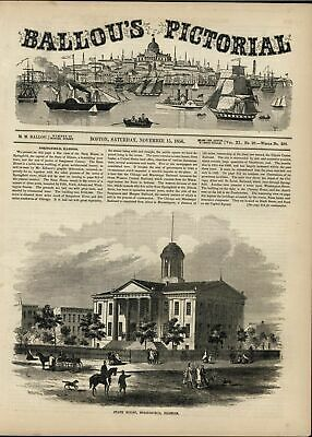 State House Springfield Illinois Pedestrian Carriage 1856 antique engraved print