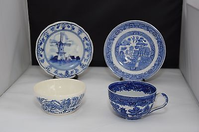 Four pieces of Blue and White China/Delft