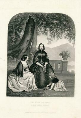 Pretty young women speaking of love toy ca. 1850's era Female antique print