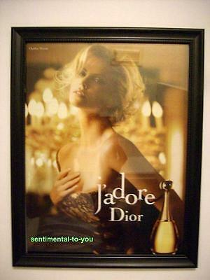 Framed CHARLIZE THERON Christian Dior J'Adore Perfume ORIGINAL Magazine Photo Ad