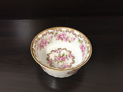 1 Antique ELITE France LIMOGES J McD & S Porcelain Ramekin Pink Flower Gold Trim